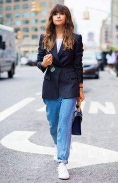 A sleek blazer added polish to Duma's jeans and tee.