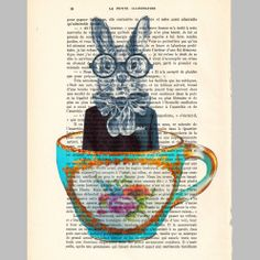 Acrylic paintings Illustration Original Prints Drawing Giclee Posters Mixed Media Art Holiday Decor Gifts: Rabbit in a cup.