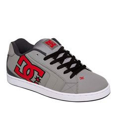 Look what I found on #zulily! Gray & Red Net Leather Sneaker by DC #zulilyfinds