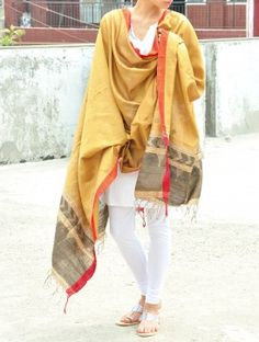 Yellow-Gold Silk Jamdani Dupatta - Floweret