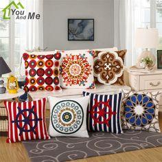 "18"" Square Cotton Geometric Embroidered Cushion Cover Decorative Throw Pillows Cases Sofa Cushions Home Decor #Affiliate"