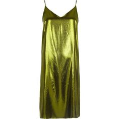 River Island Metallic green midi slip dress (205 BRL) ❤ liked on Polyvore featuring dresses, green, cami slip dress, metallic dress, cami midi dress, tall dresses and mid calf dresses