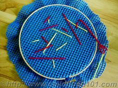 Non-slip drawer liner for easy beginner stitching.  Use large plastic needles or make one out of cardboard.