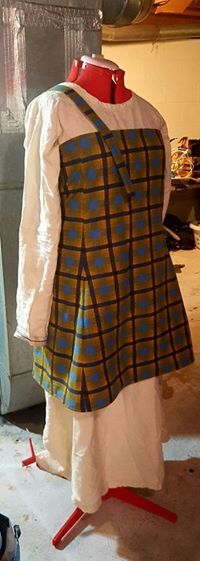 "Cotton flannel apron dress Pennellville, NY (13132) $25  This was made to test a new pattern. 42"" bust, 34"" from shoulder to hem"