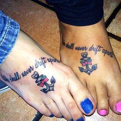 We shall never drift apart ⚓️My best friend. My sister. #tattoo #bestfriend #biffle #bff #sunshine #shavedmytoesforthis #nailsdone #stinkyfeet #bestfriendtattoos #matchingtattoos #hurts #bigbaby #wahhh