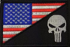 Tactical Velcro USA Flag / Punisher Skull Military Patch (Black/R/W/B)