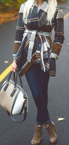 the perfect bag to match this outfit! love the plaid, wrap coat too...