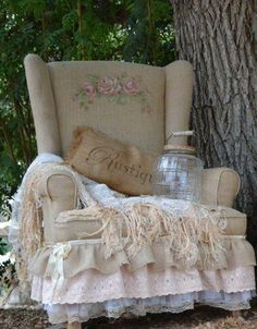 Love this! Recover a chair with burlap and lace.... hand painted roses adds a nice touch ...