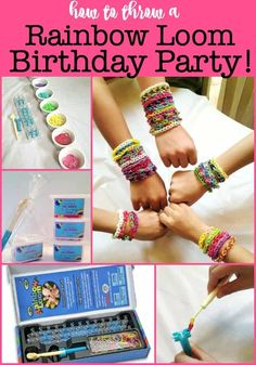It's been about 10 years since the Rainbow Loom came and today's tweens haven't tried it yet! Let's throw a Rainbow Loom birthday party! Birthday Party At Home, Birthday Party Games, First Birthday Parties, Birthday Party Invitations, Birthday Ideas, Birthday Cakes, Boy Party Favors, Fun Party Games, Kids Party Themes