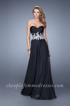 Strapless La Femme 21285 Prom Dresses with Lace Waist Band