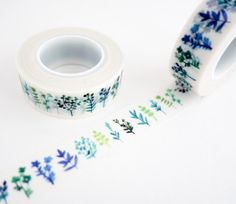 Single roll of washi tape with blue and green leaves and plant patterns. Great…