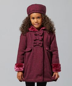 Take a look at this Pink & Pink Wool-Blend Bow Coat - Infant, Toddler & Girls by Penelope Mack on #zulily today!