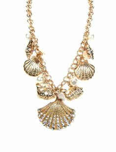Amazon.com: Women Fashion Summer Spring Gold Ocean Inspired Nautical Theme Sea Shells Fishes Pearl Crystals Statement Necklace Set: Jewelry