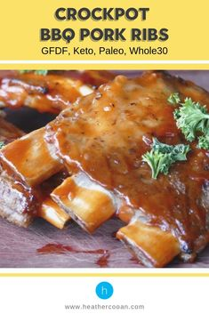 Pork ribs are so good, especially crockpot bbq pork ribs. They're so easy to make in the crockpot it's ridiculous. Here in where it's routinely 100 plus degrees in the summer, we don't want Slow Cooker Keto Recipes, Pork Rib Recipes, Paleo Recipes, Real Food Recipes, Dinner Recipes, Smoked Pork Ribs, Bbq Pork Ribs, Bbq Brisket, Crockpot Bbq Ribs