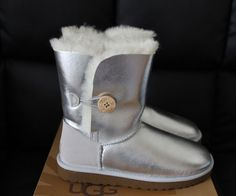 UGG WITH BAILEY BUTTON METALLIC USA 10 BOOTS SHOES FUR 1002951 W/STR FLAT COMFY  #UGGAustralia #BOOTS