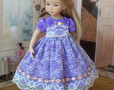 "Little Darling Special Occasion Dress- Lilac and Lace  / Clothes  for Dianna Effner's 13"" Little Darlings"