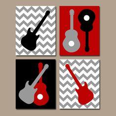 Guitar Wall Art Music Theme Nursery Decor Boy Room Canvas Or Prints Rock N Roll Set Of 4