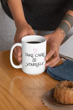 $11.99 Take Care Of Yourself is an empowering mug for women. The perfect mug gift idea. Get this beautiful mug to feel inspired and motivated every day or give it as the perfect gift to a friend, and show how much you care about her. Choose your favorite color, and buy it now to place your order. Take advantage of our policy - 30 Days Satisfaction Guarantee + Worldwide Shipping.  #mugs #mug #teacup #feminist #cuppa #empowering #women #womens #mugforwomen #feministmug #muggiftidea Make Your Own Mug, Girl Tribe, Customised Mugs, Premium Coffee, Love Design, Take Care Of Yourself, Self Love, Favorite Color, Tea Cups