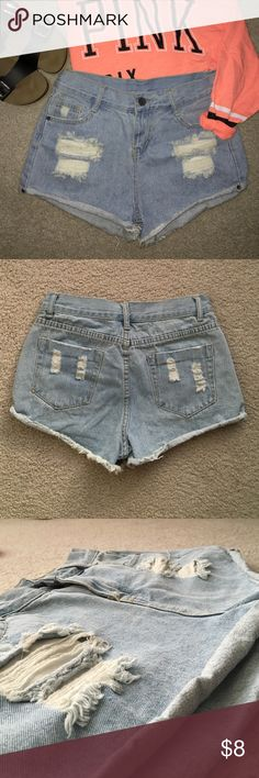 Nwot distressed shorts Distressed shorts(size small) bought on Sammydress.com. Were never worn and doesn't have a tag. I am a size 25 and they were baggy on me so these should fit a size 26. The last pic shows all the measurements. Shorts Jean Shorts