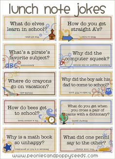 Peonies and Poppyseeds: School Jokes: lunch note printables