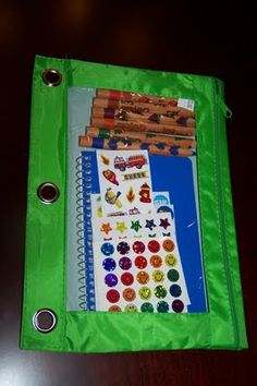 Pencil cases loaded with memo book, pencil, crayons, stickers. One for each kid!