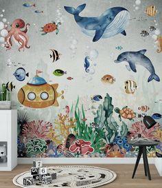 WATERLAND Wallpaper for Children / Oceanic Seaweed Watercolor | Etsy