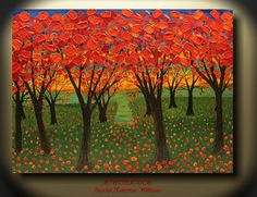 ADW Original Extra LARGE Red Palette Knife Textured Autumn Tree Landscape Oil Painting Modern Fine Abstract Art on Canvas By Angela Williams on Etsy, $367.00