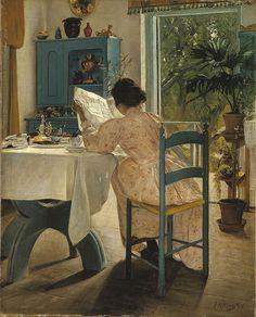 """""""En la mesa del desayuno con la prensa matinal"""". Laurits Andersen Ring (Dinamarca, 1854-1933)."""