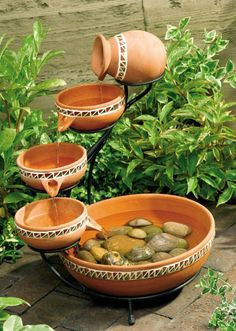 Did you just blow an hour admiring this Terracotta Bowls Outdoor Solar Fountain Bird Bath, watching cool, clear water trickle down from bowl to bowl, then recycle back up again? We understand. Small Garden Water Fountains, Patio Water Fountain, Indoor Waterfall Fountain, Diy Fountain, Fountain Design, Tabletop Fountain, Indoor Fountain, Water Garden, Outdoor Fountains