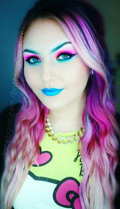 Colorful #hair www.bodycandy.com #piercing #tattoo #scene