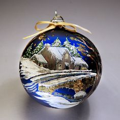 Hand painted Christmas bauble glass ornament by MummysCraftCorner