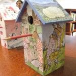 Birdhouse made by a 6th grader at Tenacre Country Day School in Wellesley, MA using Sylvester and the Magic Pebble by William Steig