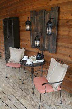 34 Beautiful Porch Wall Decor Ideas to Make Your Outdoor Area More Welcoming - Rina Watt Blogger - Home Decor, DIY and Recipes Outdoor Wall Art, Outdoor Walls, Outdoor Decor, Outdoor Lighting, Wall Lighting, Outdoor Areas, Lighting Ideas, Porch Wall Decor, Home Decor