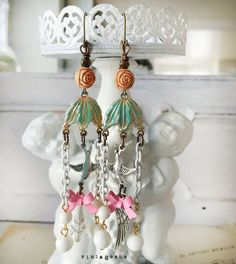 parisPartyupcycled vintage findings altered earrings rose by Arey