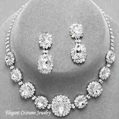 Clear Crystal Bridal Formal Prom Elegant Jewelry Necklace