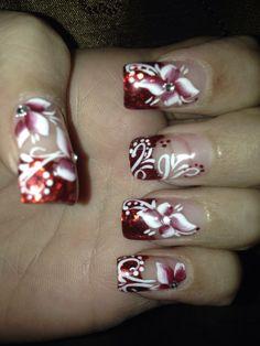 Red nail art Red Tip Nails, Hair And Nails, Christmas Nail Art, Holiday Nails, Fingernail Designs, Nail Art Designs, Fancy Nails, Pretty Nails, Nail Tips