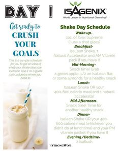 Isagenix Shake Day Schedule This is an example of a shake day when using Isagenix superfood cleansing system. Isagenix for weight loss doesn& have to be hard. 2 shakes a day, healthy meal, and snacks keep you full. Get the nutrients you need. Superfood, Isagenix Shakes, Health Blog, Health Tips, Isalean Shake, Day Schedule, Full Body Detox, Nutritional Cleansing, Cleansing Diet