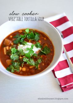 Slow cooker vegetable tortilla soup -Momo