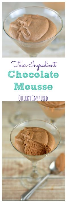Chocolate mousse is an easy dessert recipe that will make your guests and family feel guilty that they didn't offer to do the dishes (which means they will do the dishes). This four ingredient dessert recipe is easy and delish. Click the pin for the full recipe.