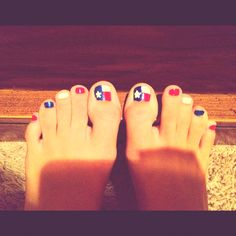 Texas flag toe nails for the 4th! I did them myself :)