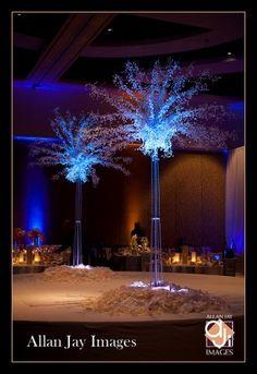 Elegant illuminated crystal trees