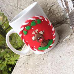 Reindeer cute red green animal baby mug christmas polymer clay handmade homemade