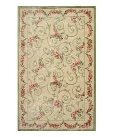 Take a look at this Cream Garden Scroll Wool Rug by The Rug Market on #zulily today!