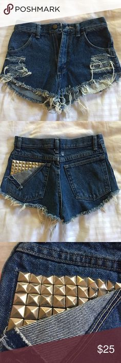 High Waisted Cut Off Jean Shorts w Studs & Fringe These are high waisted denim short shorts, custom made with rips and silver metal studs. Got these from Store Envy and never wore them. Size 27 rustler Shorts Jean Shorts
