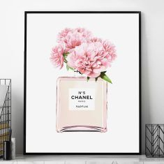Add sophistication and elegance to your home decor with this stunning abstract Chanel art print depicting the iconic Chanel bottle with a bloom of flowers emanating from it. Chanel Art, Chanel Perfume, Flower Wall, Flower Prints, Minimalist Clocks, Minimalist Design, Wall Art Decor, Wall Art Prints, Audrey Hepburn Poster