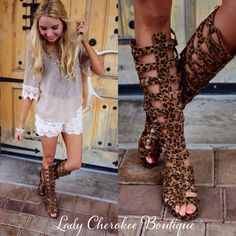 """https://instagram.com/ladycherokeeboutique Wild At Heart LEOPARD PRINT GLADIATOR SANDALS WITH ZIPPER CLOSURE ✨These run a half size big.✨ Price: $44.00, Free Shipping Qty: (1)5.5 (1)6 (1)6.5 (1)7 (2)7.5 (2)8 (1)8.5 (1)9 (1)10  Please comment """"Sold, size, and quantity needed, as well as your email to purchase. Also, you must let us know what state you live in, before we can invoice you! ✨ALL SALES ARE FINAL✨ ✨NO RETURNS✨"""