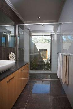 Bathroom inspiration, bathroom courtyard, tranquil shower, feature bathroom