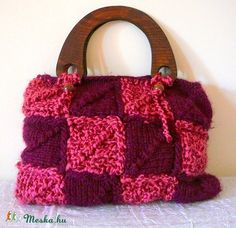 Kötött táska, pink-bordó színben (kepibag) - Meska.hu