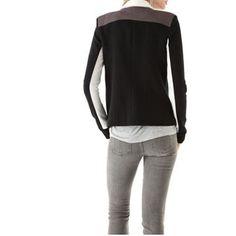 Patchwork Scarf Collar Long Sleeve Blazer LAVELIQ