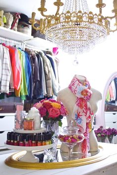 closet cleanout, chandelier in closet, his and hers closet, spring cleaning closet, crystal chandelier in closet